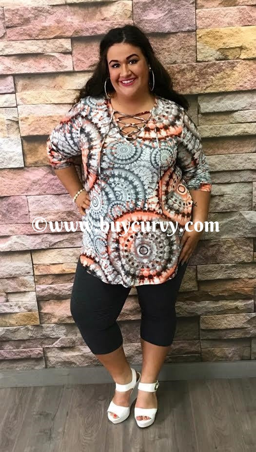 #1-I Coral/Charcoal Geo-Print Tunic with Corset V-Neck