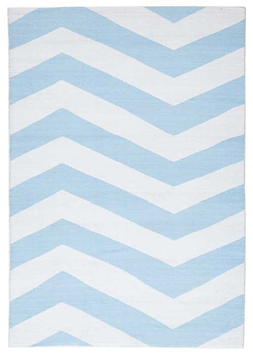 Coastal Sky Blue Rug Chevron