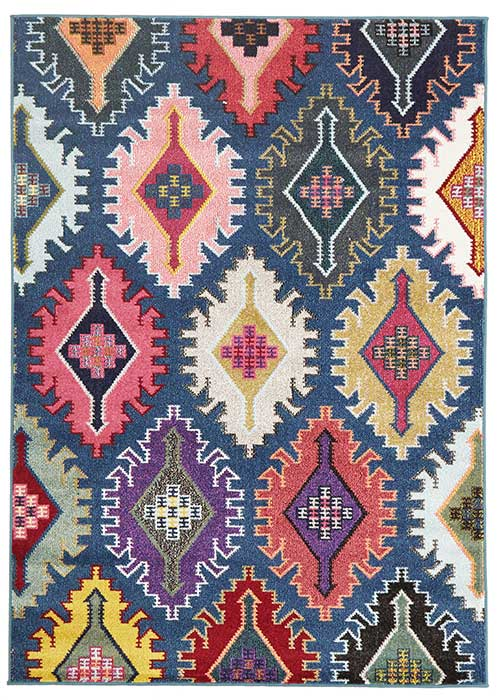 gemini rug navy jagged pattern