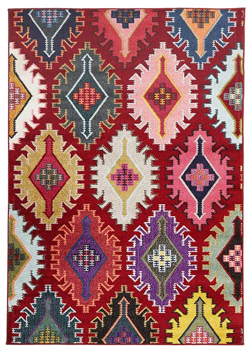 gemini rug in red with jagged pattern