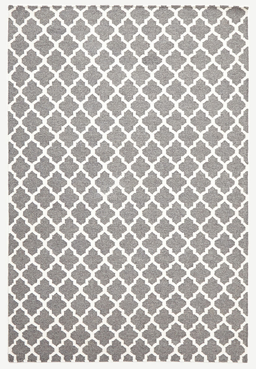 scandinavian grey circle pattern rug