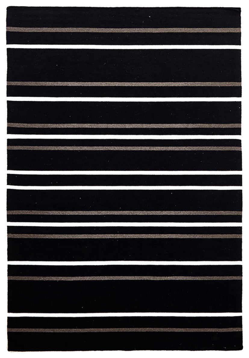 scandinavian black rug with white stripes