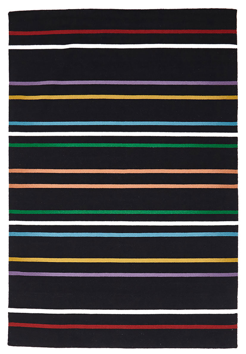 scandinavian black rug with multi colour stripes