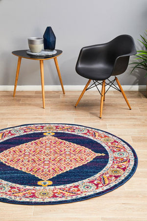 Century 966 Royal Blue Round Rug