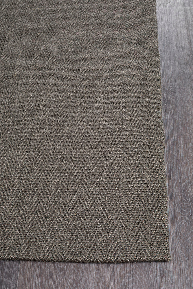 Eco Sisal Rug Herring Bone Charcoal