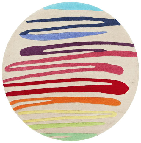 Paint Strokes Multi Round Rug