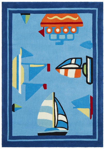Boats and Ships Rug Blue