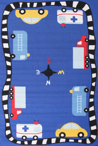 Kids Non Slip Cars Rug Blue