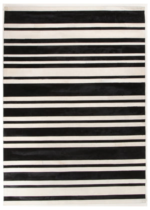 Spanish Carousel Ebony Ivory Leather Rug