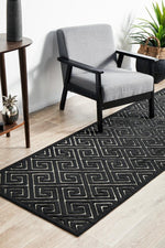 York Alice Black & Gold Runner Rug