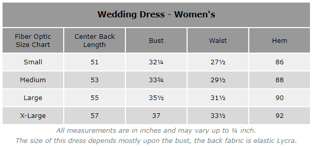 TrYptiX Fiber Optic Women's Wedding Dress Size Chart
