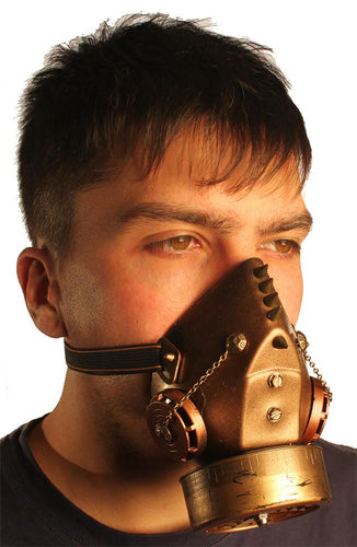 Steampunk Gas Mask Respirator with Single Cartridge