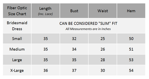 Fiber Optic Bridesmaid Dress Size Chart