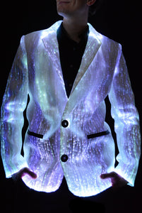 Fiber Optic Light Up Mens Suit lit White