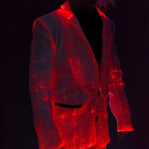 Fiber Optic Light Up Mens Suit Jacket Lit Red