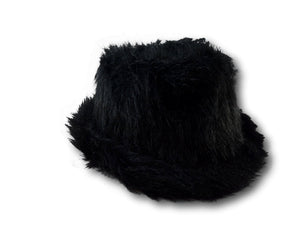 Black Faux Fur Fedora