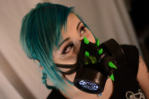 Light Up LED Curved Green Spike Gas Mask