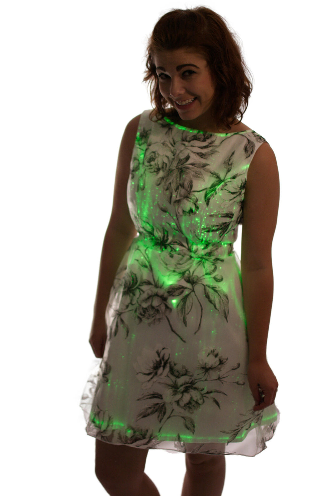 Floral Patterned Lace Fiber Optic Dress