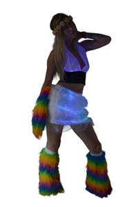 LED Halter Top and LED Mini Skirt with Tail and Fluffies