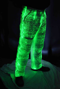Fiber Optic Men's Suit Pants w Green Lights On