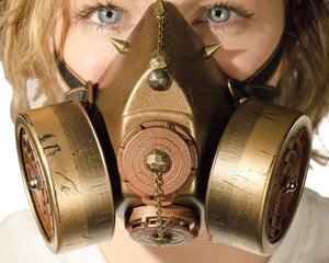 Steampunk Gas Mask Respirator with Dual Cartridges