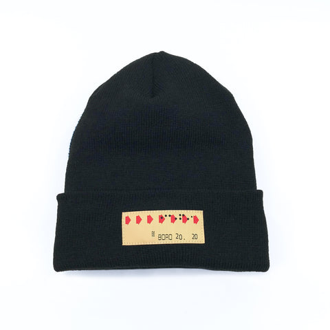 Boro Transfer Patch Long Beanie (black)