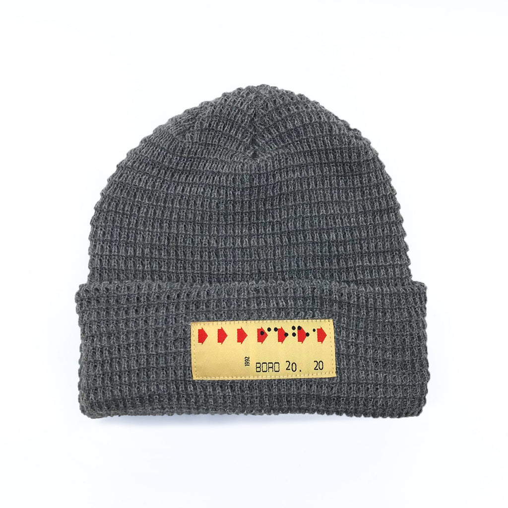 Boro Transfer Patch Short Waffle Beanie (Grey)