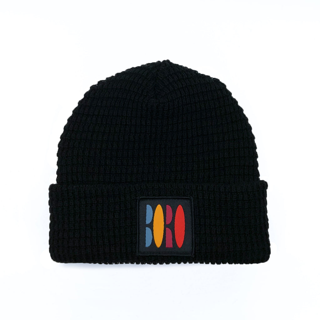 Boro VHS Patch Short Waffle Beanie (Black)