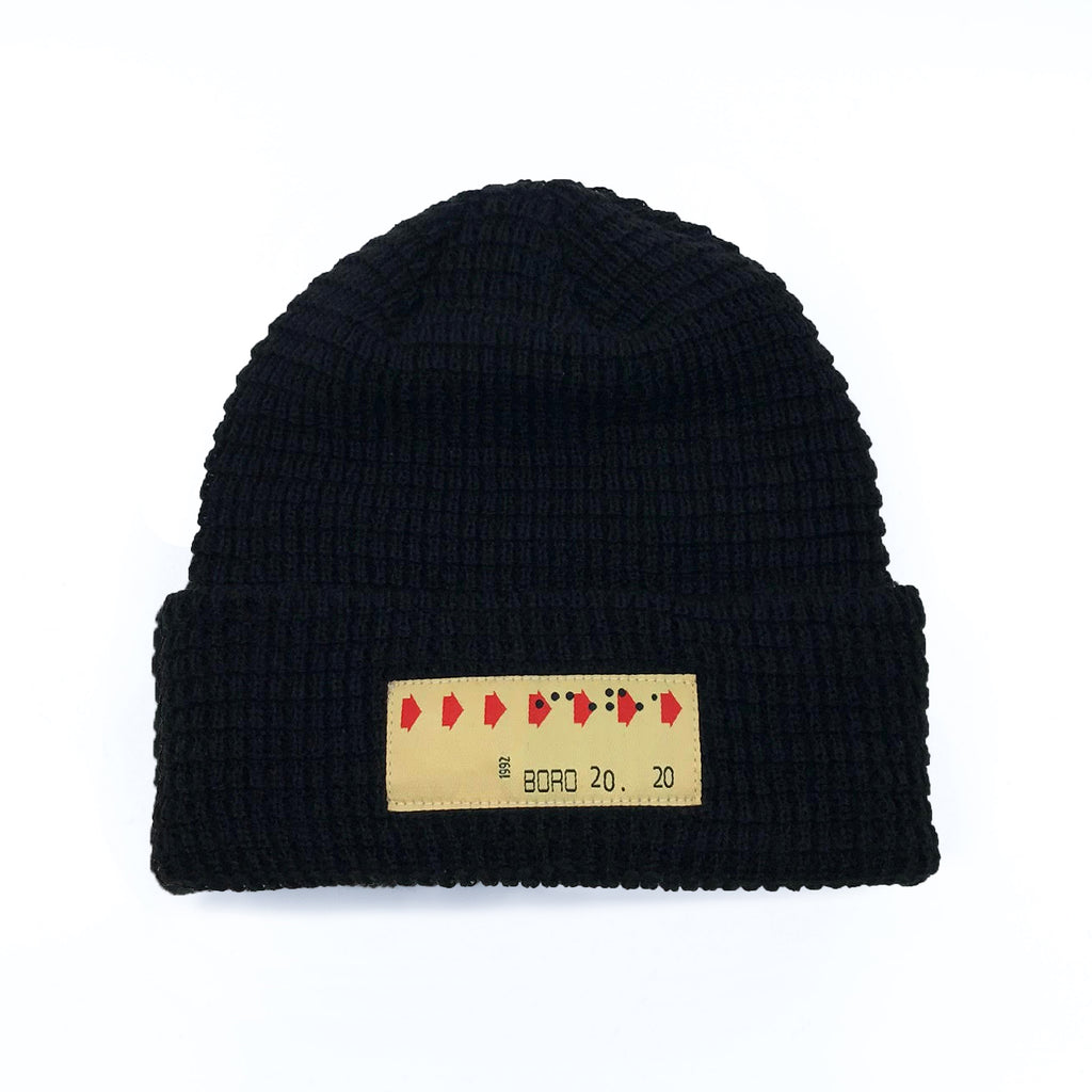 Boro Transfer Patch Short Waffle Beanie (Black)