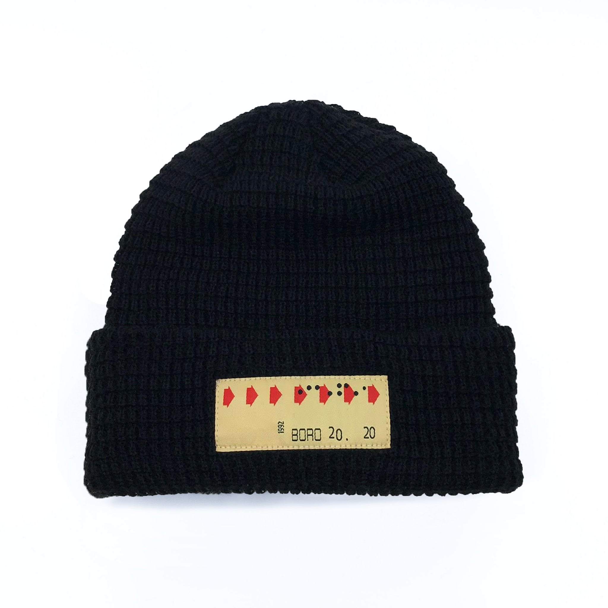Transfer patch - Short waffle beanie (black)