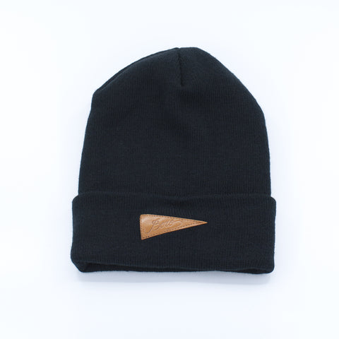 Boro Leather Patch Long Beanie (black)