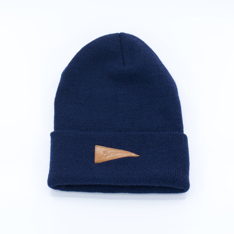 Boro Leather Patch Long Beanie (navy)