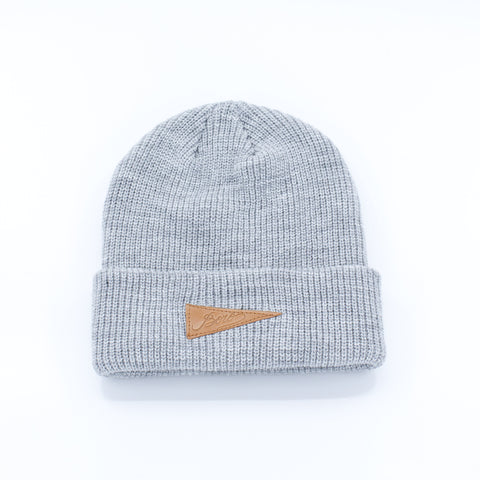 Boro Leather Patch short Beanie (grey)