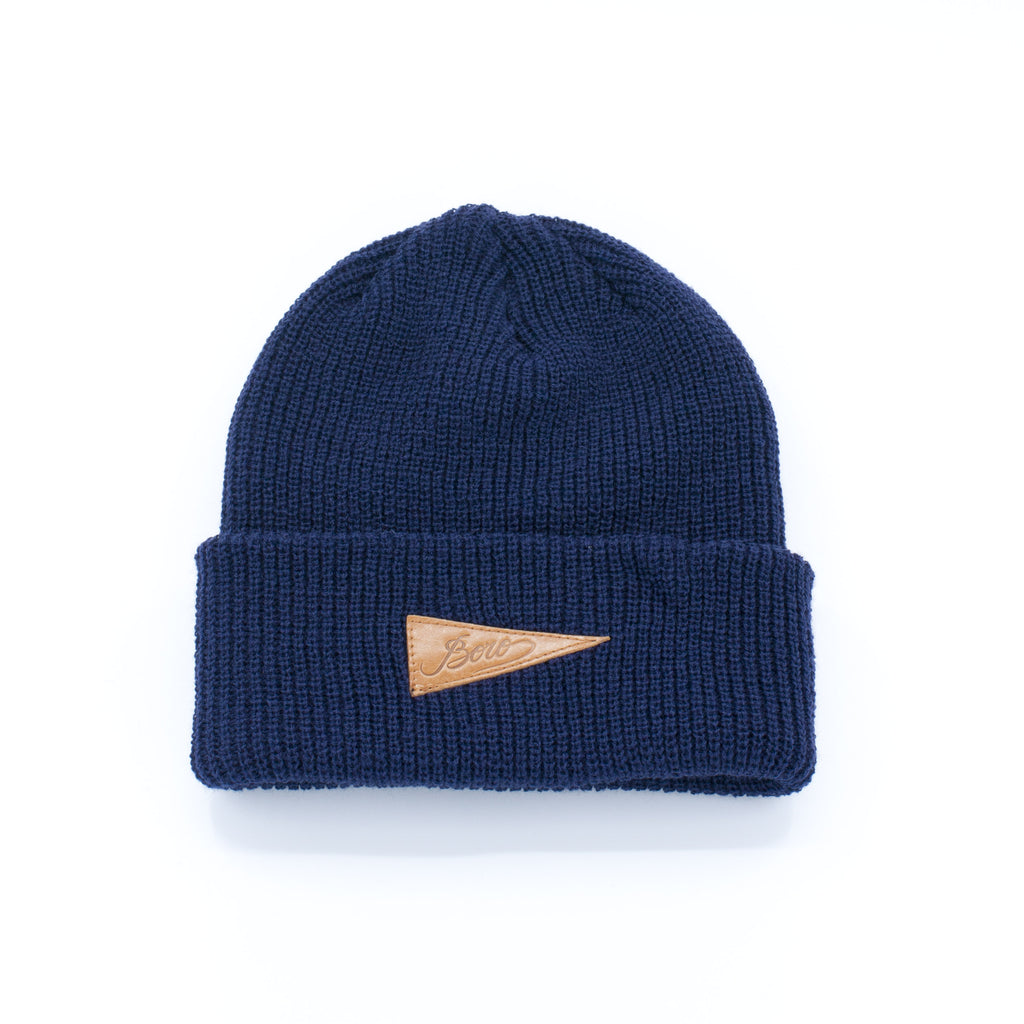Boro Leather Patch short Beanie (navy)