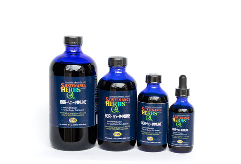row of 4 different sized bottles of bor-l-immune by sustenance herbs for pets, an immune modulator for dogs and horses