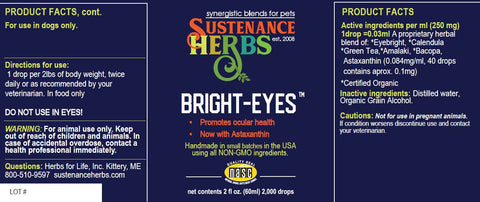 ocular health label for animals