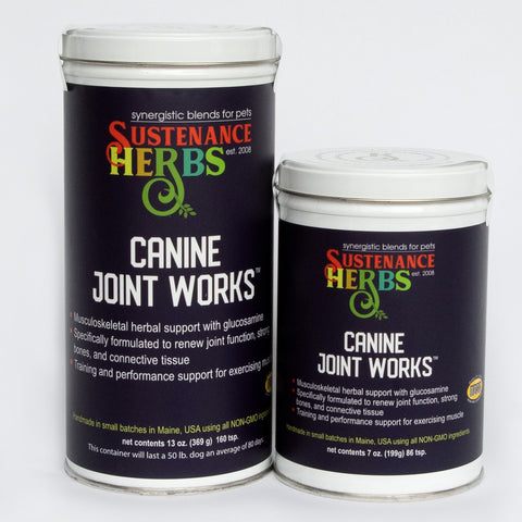 sustenance herbs for pets canine joint works, herbal support for joint, natural pet care productss