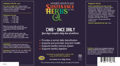 label for cwb once daily supplement made by sustenance herbs for pets