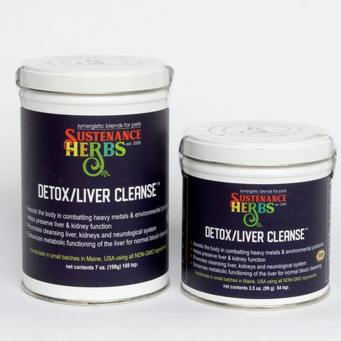 2 tins of sustenance herbs for pets detox liver cleanse, a non gmo organic blend for pets that helps preserve  liver and kidney function