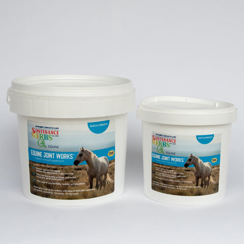 2 tubs of sustenance herbs for pets equine joint works, an all natural non-gmo organic herbal for joint health in horses