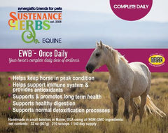 advertisement for ewb-once daily wellness formula for horses by sustenance herbs for pets