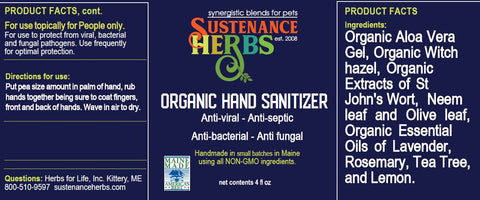 product label for sustenance herbs for pets organic  anti-bacterial anti-viral hand sanitizer