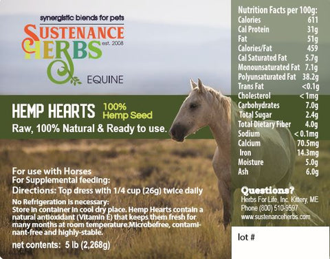 label for sustenance herbs for pets hemp heart seeds for horses, 100% hemp seeds raw and ready to use