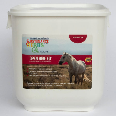 32 oz tub of sustenance herbs for pets  open aire eq, an organic herbal  formula that strengthens respiratory immunity in horse