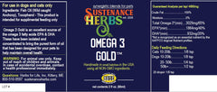product label for sustenance herbs for pets  omega 3 gold, a non gmo fish oil supplement for pets