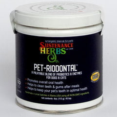 4 oz tin of sustenance herbs for pets  pet-riodontal, an all natural organic blend of probiotics and enzymes for dogs and cats