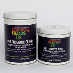 8 and 4 oz tins of sustenance herbs for pets  pet probiotic blend for dogs and cats