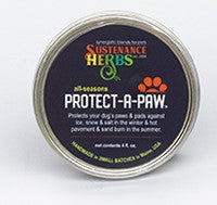 tin of sustenance herbs for pets protect a paw, an anti-septic natural healing salve for dogs