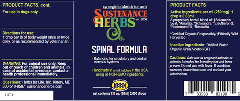 label for sustenance herbs for pets spinal formula, for balanced circulatory and central nervous systems in dogs