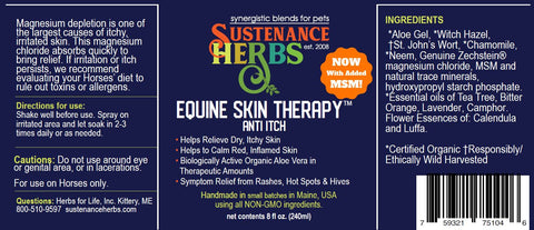 label for sustenance herbs for pets equine skin therapy anti itch formal for horses
